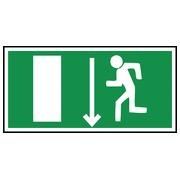 Panneau dur sortie de secours « personne qui court à gauche, flèche vers le bas»  (PEPR21 361)