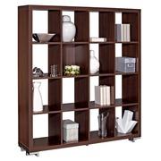 Book case 16 compartments wood H 146 x W 130 cm ebony black Shiny