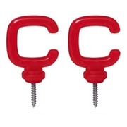 Set of 4 red hooks for fencing kit with chains and poles