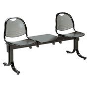 Stuhl auf Querbalken Vega 2 Sitze + Regal Breite 150 cm - schwarzes Metall