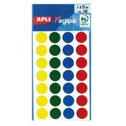 Pastille adhésive Ø 15 mm Agipa 100625 couleurs assorties - Boîte de 140