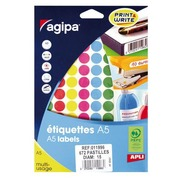 Round labels Ø 15 mm Agipa 11996 assorted colours - Box of 672