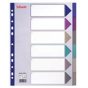 Intercalaire A4+ polypropylène coloré translucide Esselte 6 onglets neutres multicolores - 1 jeu