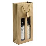 Sac 2 bouteilles kraft naturel brun - Paquet de 10