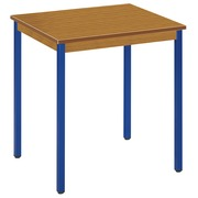 Office table multi-purpose Eco W 70 x D 60 cm plate teak base metal tube blue