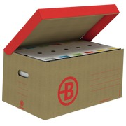 Pack 20 archiving boxes back 8 cm assorted colours + 10 archive cases Bruneau brown kraft
