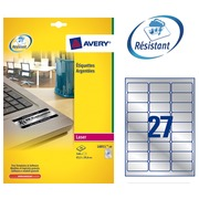 Box of 540 ultra strong labels Avery L 6011 63,5 x 29,6 mm metallic grey for laser printer