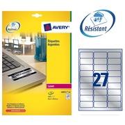 Pack 540 äußerst starke Etikette Avery L 6011 63,5 x 29,6 mm metallgrau für Laserdrucker