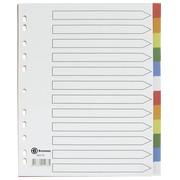 Intercalaire A4+ polypropylène coloré Bruneau 12 onglets neutres multicolores - 1 jeu