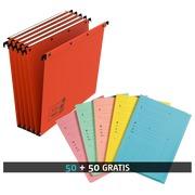 Pack 50 dossiers suspendus pour tiroirs 33 cm kraft Ultimate Elba fond 15 mm orange + 50 chemises Index offertes
