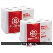 Pak 48 rollen dubbelgelaagd toiletpapier Bruneau + 1 gratis pak