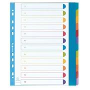 Intercalaire A4+ polypropylène coloré opaque Exacompta 12 onglets neutres réinscriptibles multicolores - 1 jeu