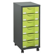 Mobile side cupboard Izo 6 drawers, anthracite - aniseed green