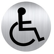 Durable plastic pictogram  Ø 8 cm 'toilet for disabled persons