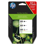 HP 301 Pack 2 zwarte cartridges + kleuren cartridge voor inkjetprinter