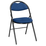 Foldable chair Super Comfort fabric non-flammable matchstick black undercarriage - blue