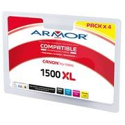 Pack inktpatronen Armor voor inkjetprinters, 4 kleuren, compatibel met Canon PGI500XL