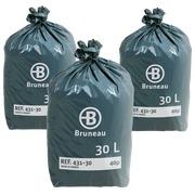 Pack 2 colis + 1 colis de sac poubelle gris Bruneau premium 30 litres - Colis de 200