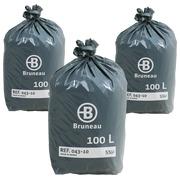 Vuilniszak Bruneau premium grijs 100 liter - Doos van 200 - Promo pack 2 + 1 gratis
