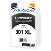 Pack cartouche Armor compatible HP 301XL couleurs pour imprimante jet d'encre