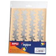 Agipa gommettes métalliques, pochette de 128 pièces, or et argent, étoile 35 mm