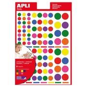 Apli Kids gommettes enlevables, cercle, blister de 624 pièces en couleurs et formats assortis