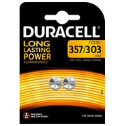 Button battery SR44-357 silver oxide Duracell - Blister of 2 batteries
