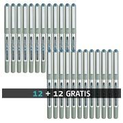 Pack de 12 + 12 stylos roller Eye Uni-Ball bleu