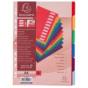 Intercalaire A4 polypropylène coloré opaque Exacompta 6 onglets neutres réinscriptibles multicolores - 1 jeu