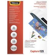 Boîte 100 pochettes de plastification A4 2 x 125 µ brillantes Fellowes SuperQuick