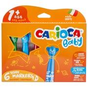 Carioca feutre Baby Teddy, boîte de 6 pièces en couleurs assorties