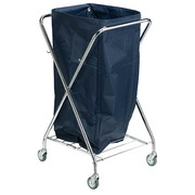Foldable and rectangular cart for laundry chromed 150 L