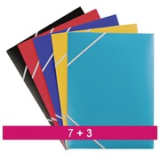 Pack van 7 elastiekmappen met 3 flappen in plastic assortiment + 3 gratis