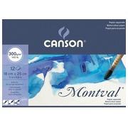 Montval papier aquarelle, blanc avec grain fin 300 g/m², ft 18 x 25 cm, bloc de 12 feuilles