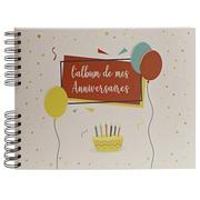 Album photo des anniversaires à spirales 50 pages blanches + 2 pages d'introduction - Format 32x22cm