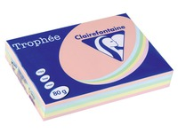 Paper colour A4 80 g Clairefontaine Trophée assorted pastel colours - Ream of 5 x 100 sheets