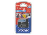 Gemetalliseerd lint 9 mm voor Brother PT blauw print zwart