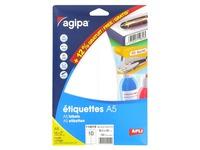 Doos 160 zelfklevende etiketten Agipa 114019 wit 38,5 x 65 mm laser en inkjet