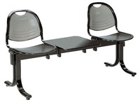 Vega 2 chairs on a beam + 1 shelf width 150 cm - black metal