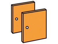 Set 2 deuren mandarijn voor werkpost Biblioffice
