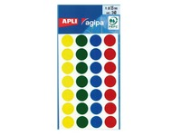 140 coloured stickers Agipa Ø 15 mm 6 assorted colours