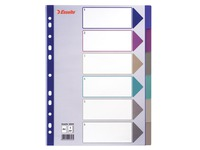 Dividers Esselte A4 plastic 30/100e translucent with 6 divisions