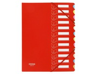 Sorting folder in 2 materials Extendos 12 divisions red