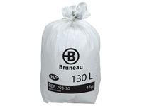 Sac poubelle blanc NF Bruneau qualité standard 130 litres - Colis de 100