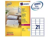 Box of 2100 address labels Avery L 7160 white 63,5 x 38,1 mm for laser printer