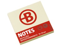 Block of 120 repositionable recycled notes Bruneau 76 x 76 mm