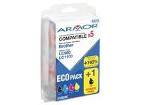 Pack von 5 Cartridges Armor vereinbar mit Brother LC980-1100 Schwarz + Farbig