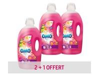 Pack 2 bussen vloeibaar wasmiddel Omo Tropical Sering & Ylang Ylang + 1 gratis