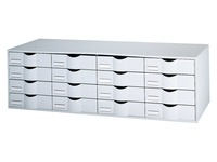 Storage block, grey, 16 grey drawers