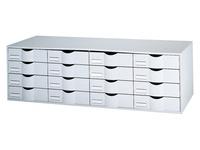 Bloc de classement gris 16 tiroirs gris L 107,6 cm